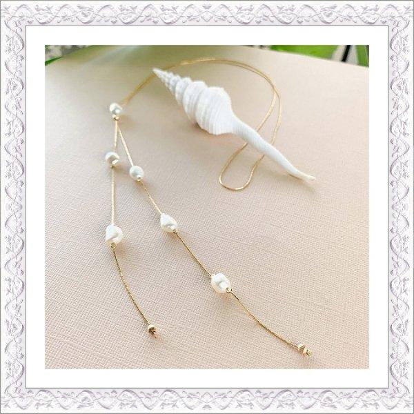画像1: Keshi Pearl Bolo Tie Necklace (1)