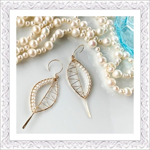 画像1: Pearl Leaf Pierce/Earring (1)