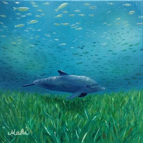 イルカの絵(油絵) タイトル : Holoholo(お散歩)