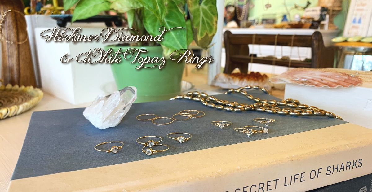 Herkimer Diamond & White Topaz Rings